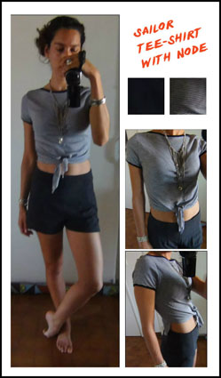 DIY Tee-shirt marin avec noeud 1