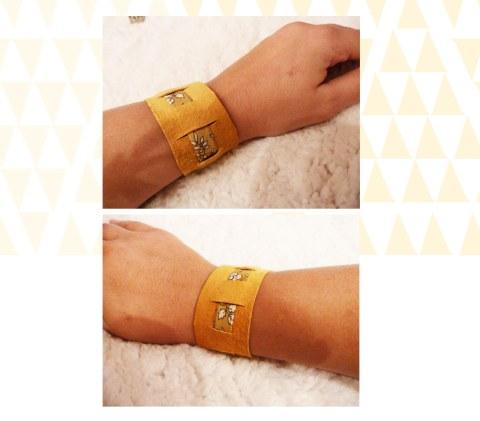 Bracelet DIY Cuir jaune