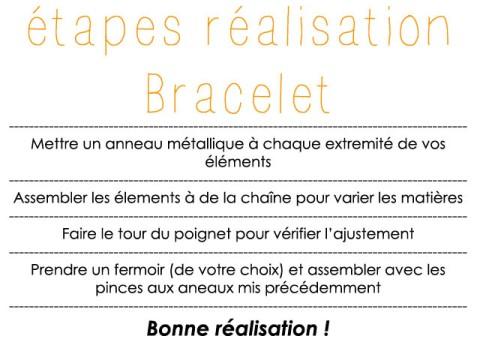 Voici les étapes pour la réalisation du bracelet