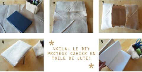 DIY PROTEGE CAHIER TOILE DE JUTE copy