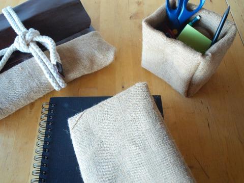 DIY Toile de Jute, pochette, pot a crayon, couvre livre